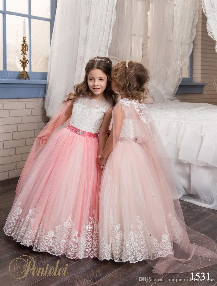 Pretty Flower Girls Dresses With Wraps And Sleeveless 2017 Pentelei Appliques Tulle Girls Prom Gowns Sky Blue Kids Evening Dresses Flower Girl Dresses Cheap Girl Outfits From Uniquebridalboutique, $76.89| Dhgate.Com