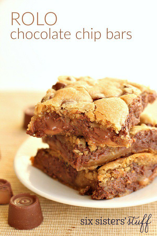 Rolo Chocolate Chip Bars | Six Sisters' Stuff