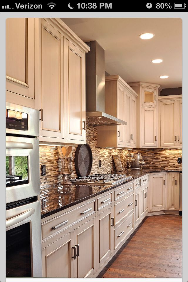 Neutral Tile Backsplash Dark Countertops Light Cabinets