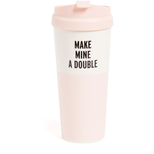 Kate Spade New York Make Mine a Double Thermal Mug ($18) ❤ liked on Polyvore featuring home, kitchen & dining, drinkware, pink, kate spade, kate spade thermal mug, pink mug, quote mugs and kate spade mug