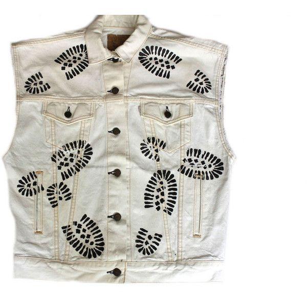 Men's D.Fame Custom Footprint Jean Vest (120 AUD) ❤ liked on Polyvore featuring men's fashion, men's clothing, men's outerwear, men's vests, mens vest and mens vest outerwear