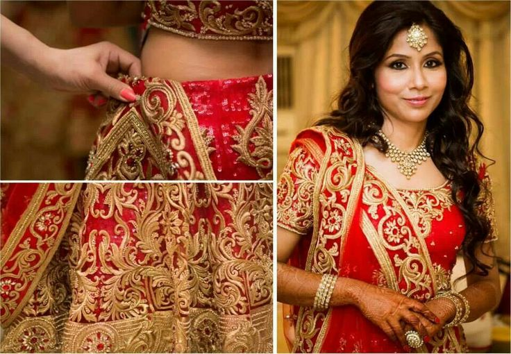 Traditional red and gold bridal lengha