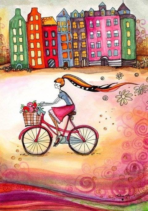 Girl biking cartoon illustration via www.Facebook/GleamofDreams