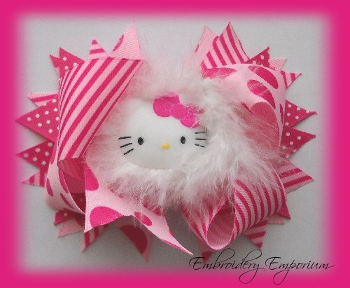 HELLO KITTY PINK AND WHITE  BOA BOUTIQUE HAIR BOW