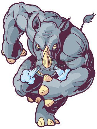 Vector Cartoon Clip Art Illustration of an Anthropomorphic Mascot Rhino or Rhinoceros Charging Foreward