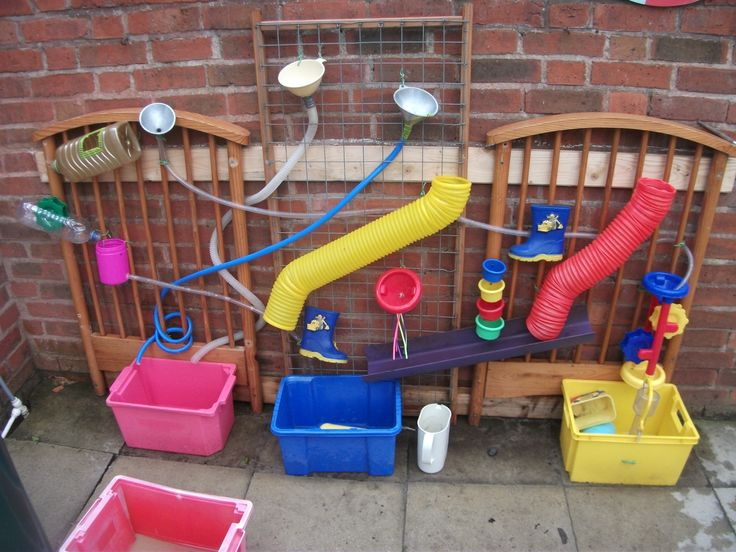 My own adaptation of a water wall. recycling an old cot and using old wellies too.