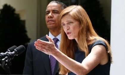 """UN Ambassador Samantha Power Shows Obama's True Colors Judge a man by his deeds; judge a president by his legislation and appointees. Obama may mouth the words """"Israel is our friend and strong ally,"""" but his actions drown out his words: in his first term in office Obama made 47 trips abroad to 32 different countries, none of them being Israel!  And on June 5th, 2013, Obama appointed Samantha Power, hater of Israel, as the United States Ambassador to the United Nations."""