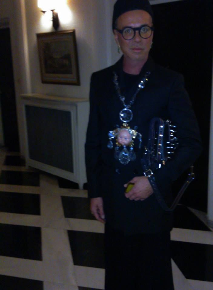 "Lakis Gavalas wears Kondylatos Necklace! ""Le Chandelier et la Bebe"" necklace by Pericles Kondylatos"