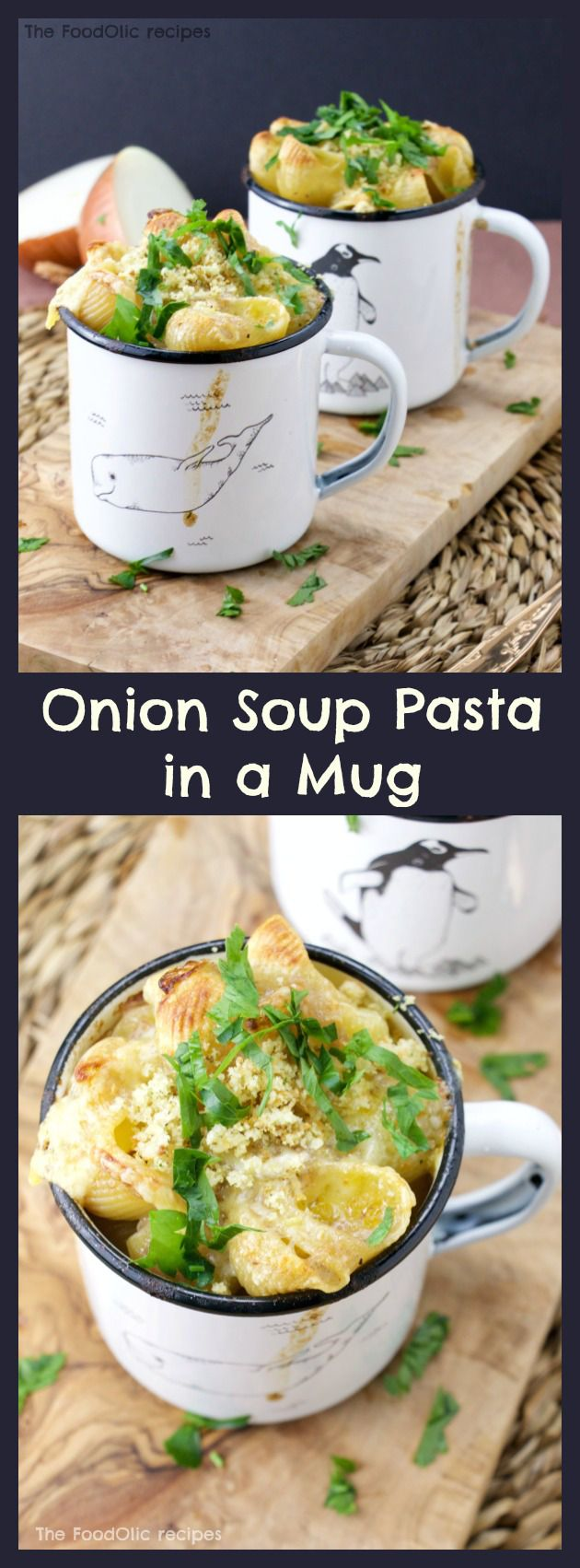 A shell pasta with an extra tasty onion soup (sauce) served in a mug topped with a light gratiné, fresh parsley and crunchy bread crumbs.#mugmeals #onionsoup #gratin