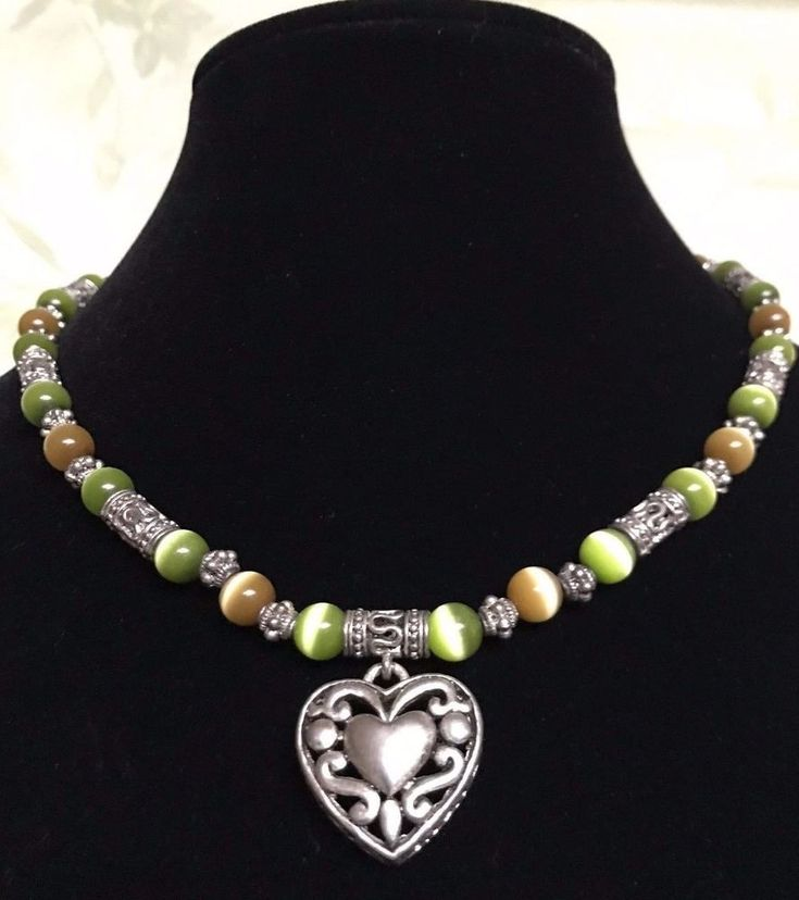 Filigree Heart Cats Eye Necklace  Silver Tone Green Brown Beads  Open Work  #Unbranded #Pendant