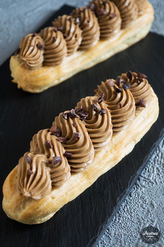 Èclairs de Chocolate con Avellanas, Café y Amaretto