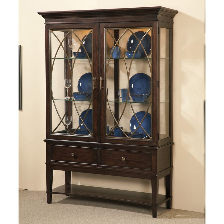 Furniture Intrigue China Cabinet Dark Wood With Maple Stringer Inlay The Crisp Uncluttered Lines Of A