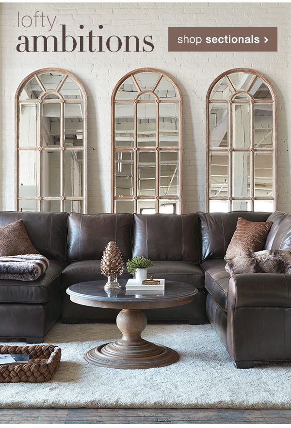 Arhaus teak arched windowpane mirror