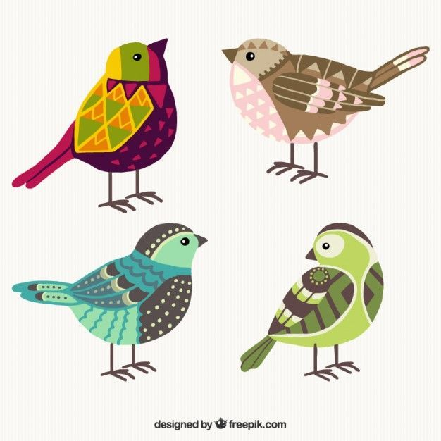 Desenhadas mão pássaros geométricas coloridas                                                                                                                                                                                 Mais