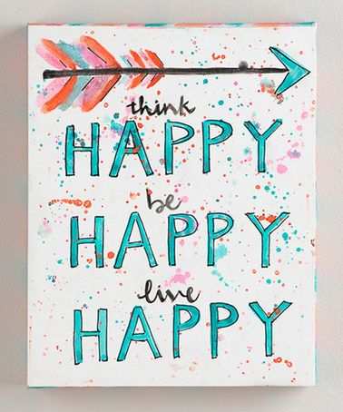 This 'Think Happy Be Happy' Wrapped Canvas is perfect! #zulilyfinds