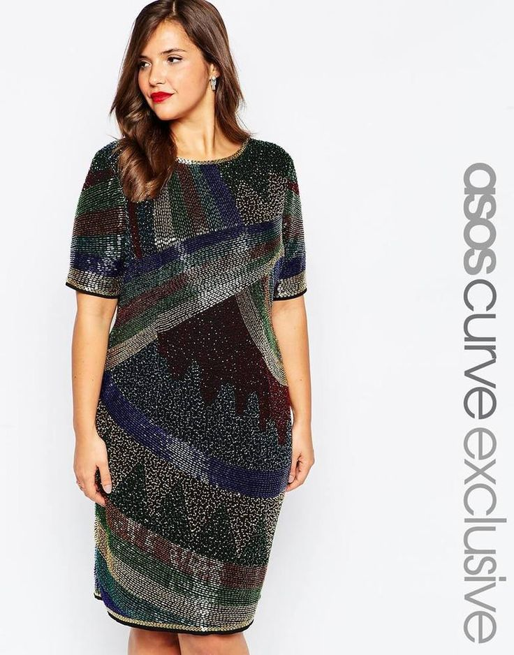 ASOS CURVE Plus Size Disco Heavy Embellished Shift Dress UK 24-EU 54-US 20