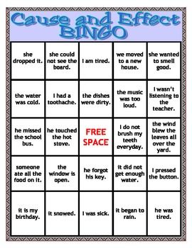 CAUSE and EFFECT BINGO- This could be a center, or great activity for a small group.