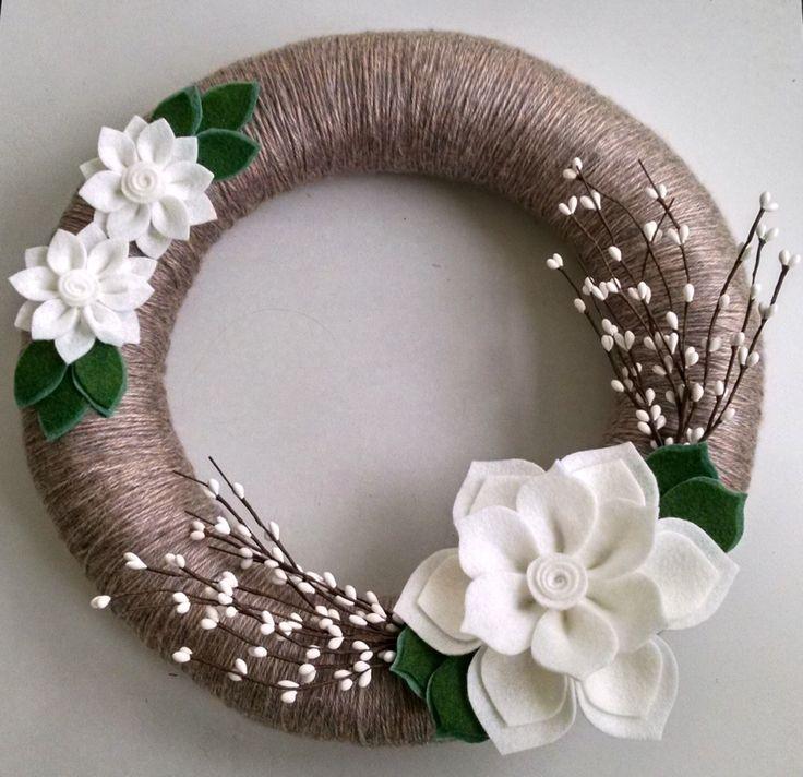 Winter wreath, felt flower wreath, yarn wrapped wreath, berry wreath, holiday wreath, year round wreath, door decor, winter wedding by madymae on Etsy https://www.etsy.com/listing/208310982/winter-wreath-felt-flower-wreath-yarn