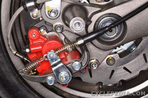 kymco xciting 500 ri abs brake caliper pads disc rotor master cylinder fluid