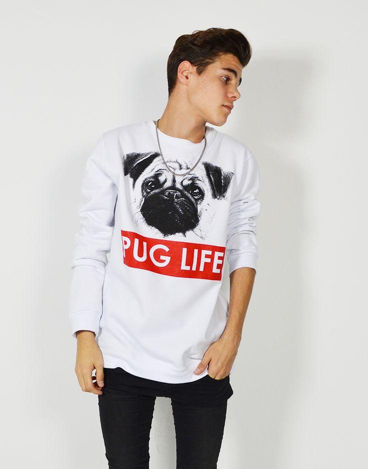 Sudadera blanca de cuello redondo #PugLife Compra online #sudaderas y la mejor moda #swag para chico y chica de España a los mejores precios. Modelos exclusivos y diseños #unicos con los estampados que más te gustan: Dope, Swag, inspiración #tumblr  #moda  #swaggers #tiendaonline #fashion #camisetas #dope #weezy #trill #thuglife