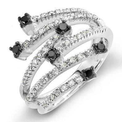 0.60 Carat (ctw) 14k White Gold Black & White Round Diamond Ladies Cocktail Right Hand Ring