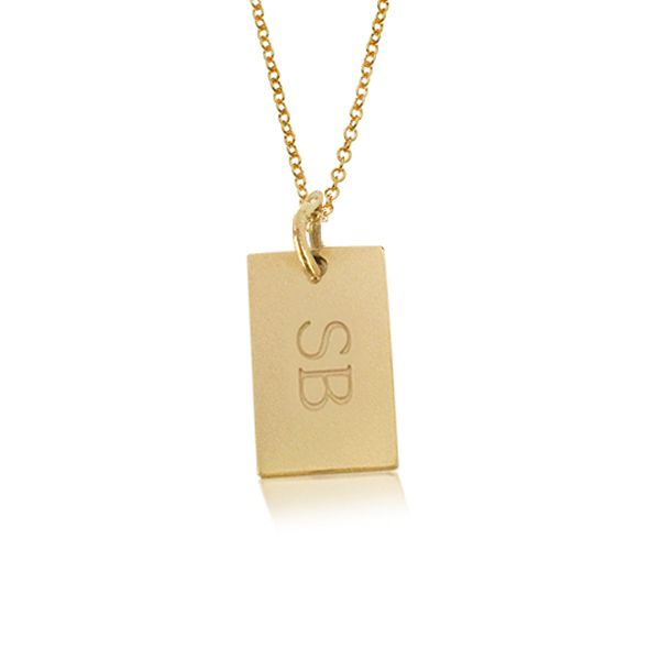 14K gold monogram necklace features a mini dog tag pendant. Perfect mommy jewelry or a personalized gift for the women in your life. Also available in 24K gold plated and silver.
