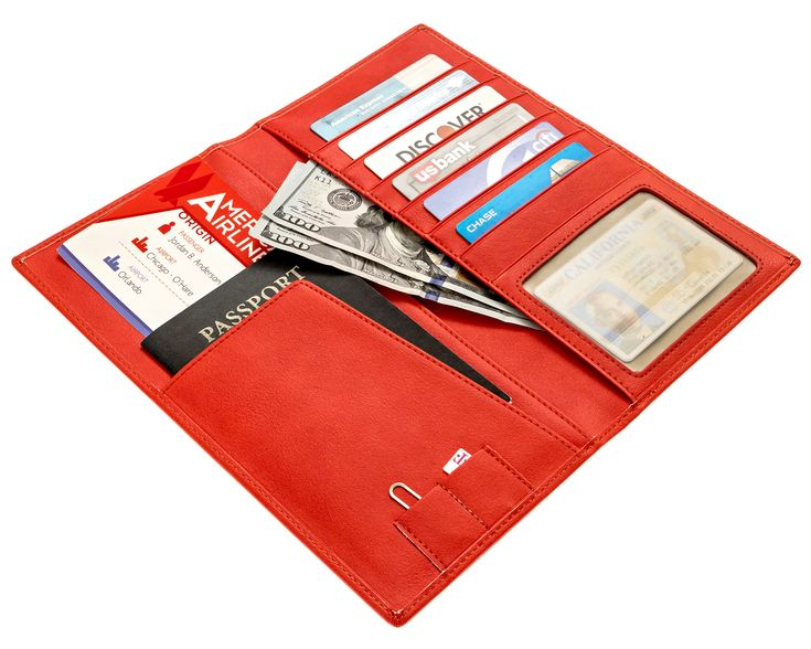 Venko's - Long and Tall Leather Travel Wallet in a Gift Box - Travel Document Holder and Ticket Organizer - RFID Blocking! - RED