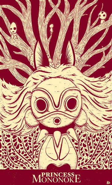 """Amazing """"Princess Mononoke Art Print"""" for Miyazaki fans ..."""