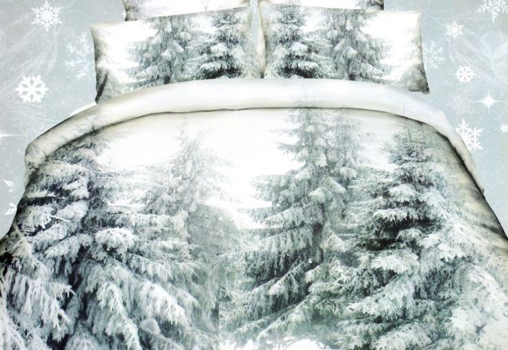 Bílé ložní povlečení s motivem zasněžených stromů