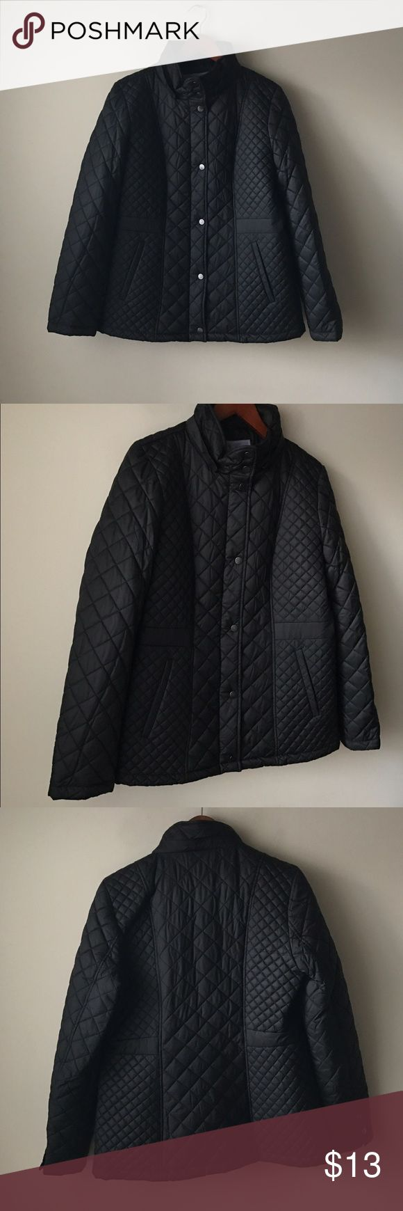 Laura Scott black medium weight quilted jacket Black medium weight quilted jacket - pockets - missing the hood but looks great without it - zipper and button placket closure - size M Laura Scott Jackets & Coats