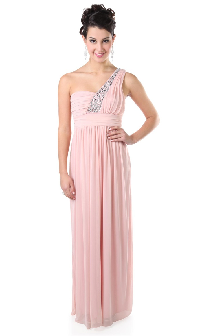 Deb Shops #pink baby doll style long prom dress with beaded one shoulder strap