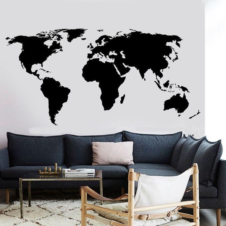 Vinyl Wall Decal World Map Atlas Vinyl Sticker For Living Room (z2836) #Wallstickers4you #VinylArt