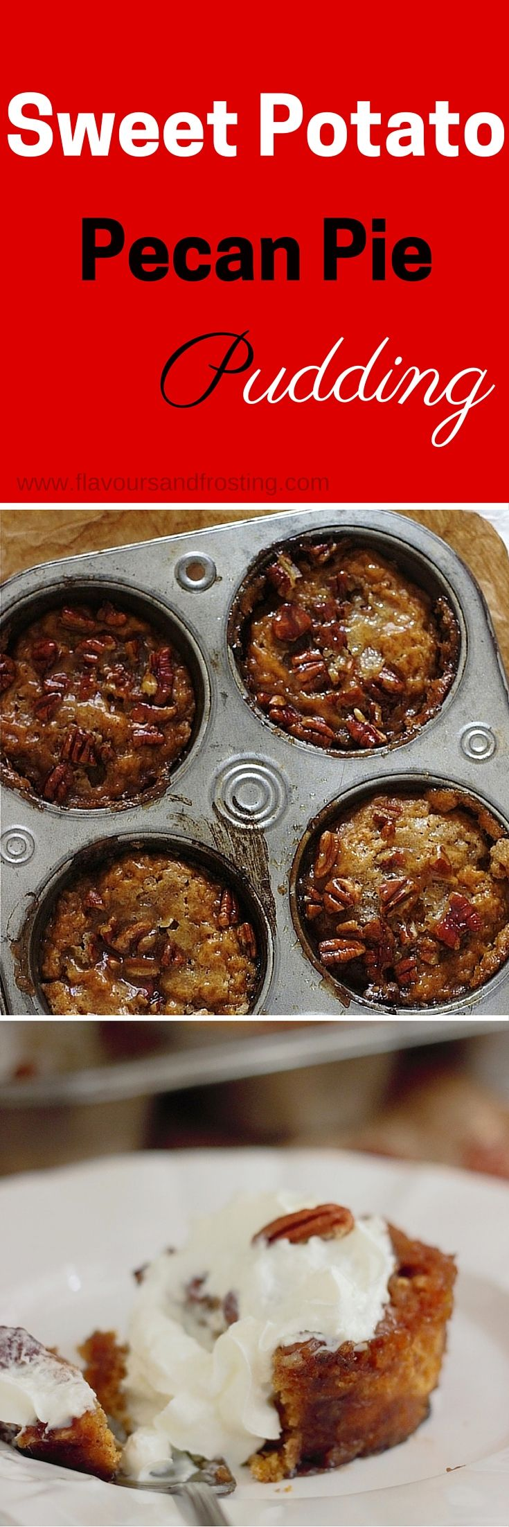 Mini Sweet Potato Pecan Pie Pudding made of sweet potato pudding with a brown sugar and pecan nut topping that becomes a lava of ooey gooye caramely goodness!