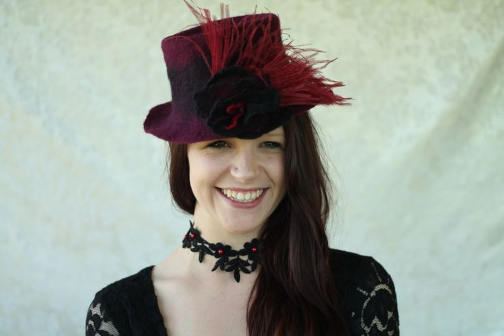Victorian style black and claret riding hat/ ostrich feathered handmade pure Australian merino wool handfelt/ with handfelt flower by Adornfeltfinery on Etsy https://www.etsy.com/listing/173552183/victorian-style-black-and-claret-riding