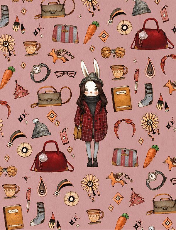 포근한 겨울옷차림과 소품으로 무장한 빨간 모직코트의 토끼소녀입니다.