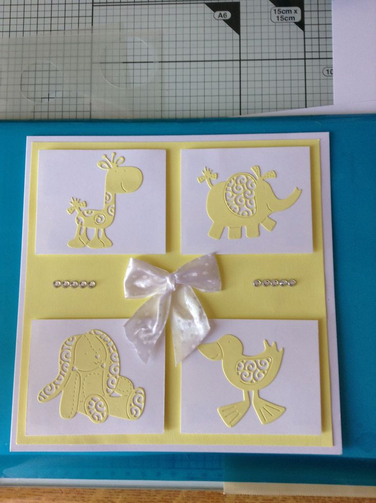 Tattered lace dies, baby card