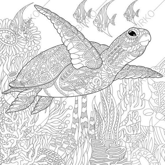 Coloring Pages For Adults Ocean World Turtle Underwater Etsy Animal Coloring Pages Turtle Coloring Pages Ocean Coloring Pages