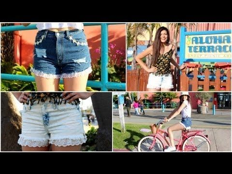 DIY Lace Trim Denim shorts + How I wear them! (BuyorDIY) - YouTube by Macbarbie07 This Tutorial is awesome-need to do that for the summer!