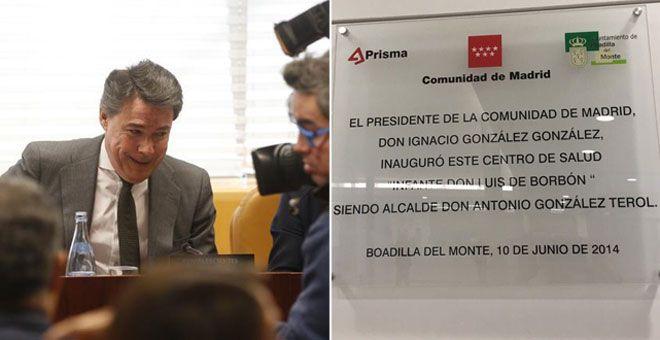 El PP de Boadilla se niega a retirar una placa conmemorativa de Ignacio González pese a ser imputado por corrupción en el caso Lezo