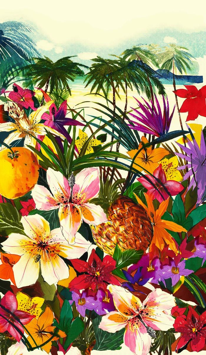 juicycouture:    This dreamy tropical print makes us want to pack our bags with warm weather florals and head somewhere exotic…
