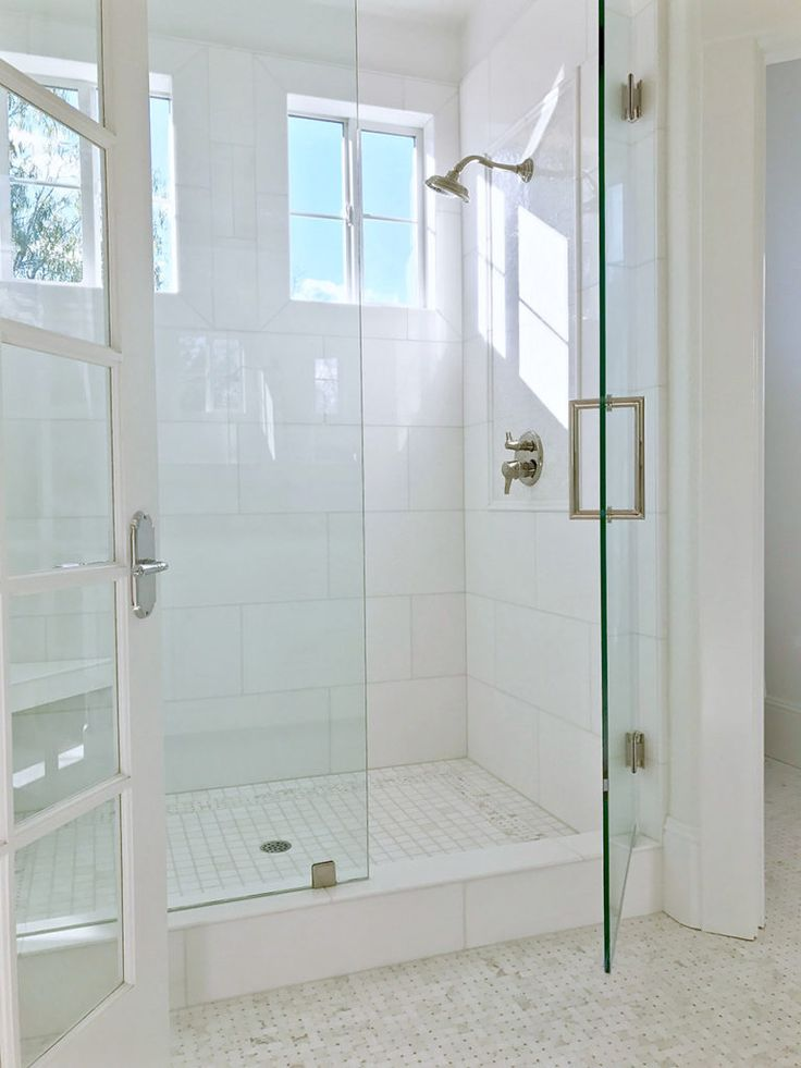 Beautiful light airy white shower with white x Akdo Thassos tiles and white and light gray basketweave floor tiles glass is coated with Diamond Fusion to ... : tile door - Pezcame.Com