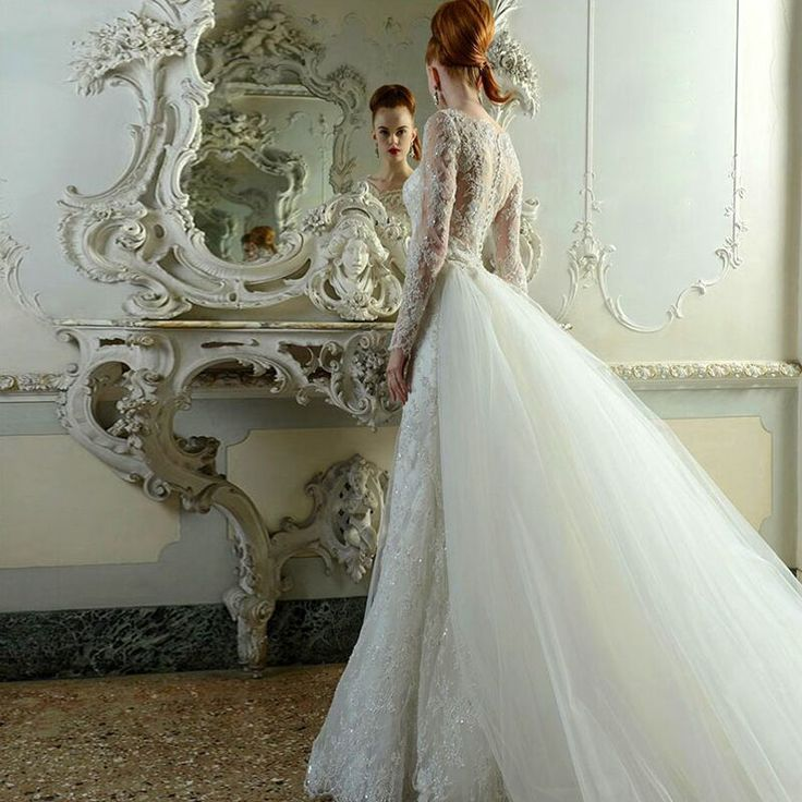 New Couture Luxury Classic Crystal Bead Wedding Lace Dress Elegant Long Sleeve Wedding Gowns Dresses Vintage Abiti Da Sposa 2015