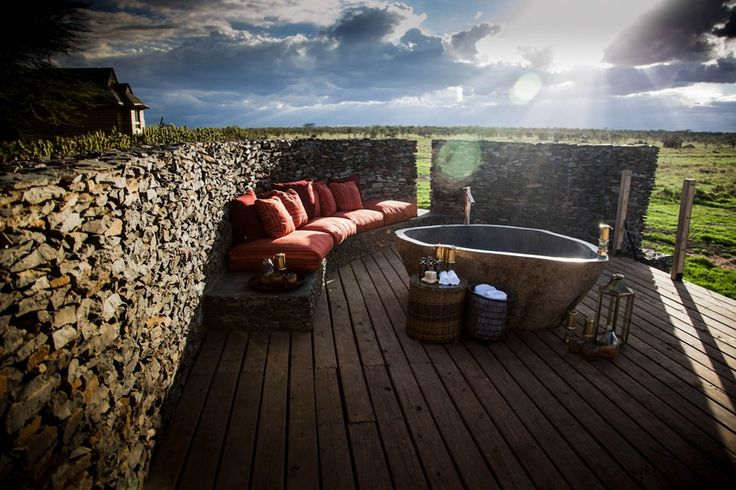 How will you be seeing off your week? Here's a thought from Brides Magazine... On the private decking of each villa at Segera Retreat in Kenya lies a carved bathtub for two, looking out over the African savannah. Your villa host will prepare it for you – don't forget to ask for Champagne.