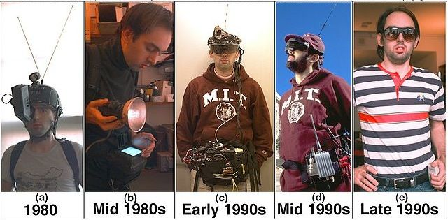 An evolution of Steve Mann's wearable devices since the 1980s