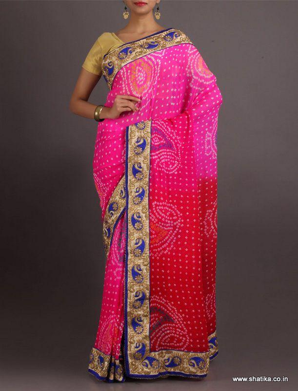 Kripa Patchwork Border Embroidered Blouse Pure Crepe Chiffon #BandhejSaree