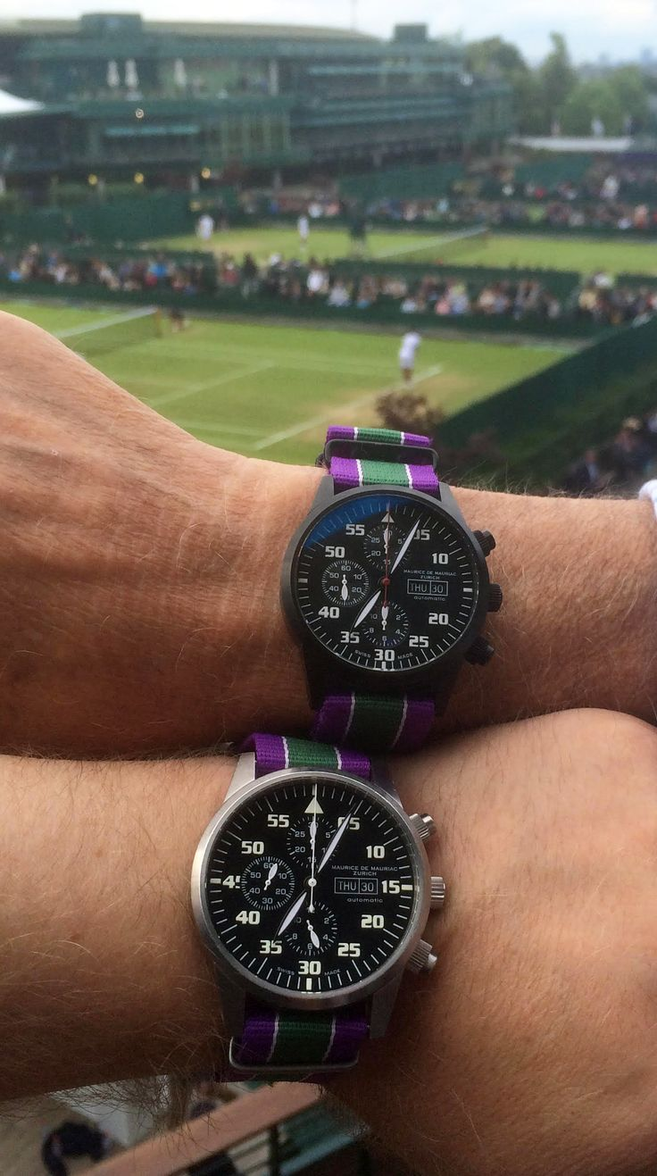 Pair of bespoke Maurice de Mauriac watches with Nato strap at the 2016 Wimbledon Championship, London. Swiss watches for men and women.
