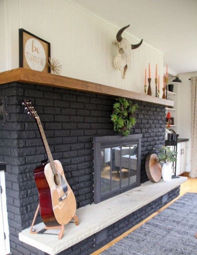 Genius Fireplace Makeover Design Ideas 32 Painted Brick Fireplaces Black Brick Fireplace Home Fireplace