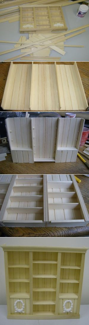 Cabinet made out of popsicle sticks!