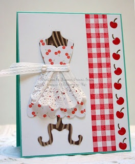 Adorable retro card using Gingham wheel, All Dressed Up stamp set, Create A Cupcake stamp set, Dressed Up framelits, doily apron