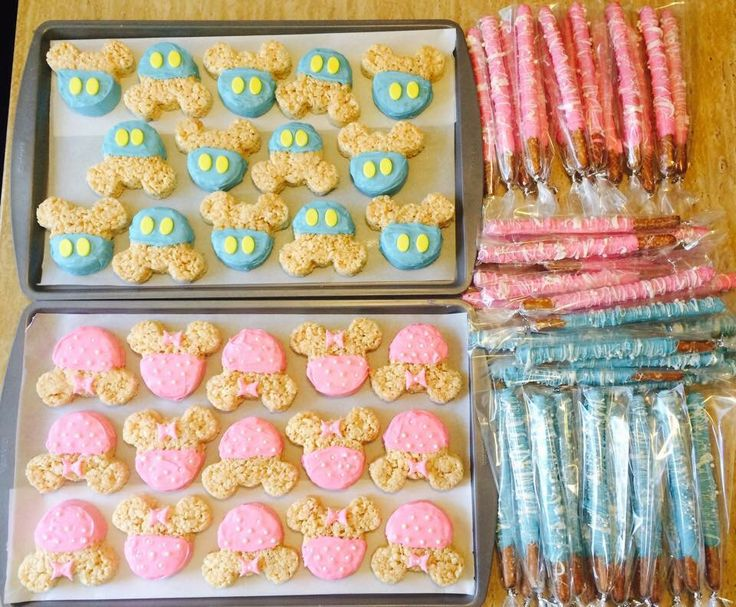 Gender reveal, Minnie Mouse, rice crispy treats, chocolate covered pretzels